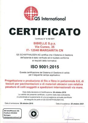 Bibielle Certificato Qualità ISO 9001:2015